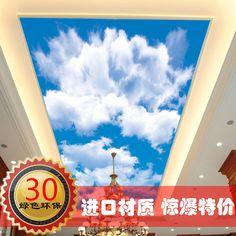 art wall stickers Custom blue sky 3D stereoscopic cozy living room bedroom ceiling sky backdrop wall paper room wallpaper murals