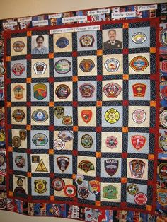 """Nick's """"Fire Patch Collection Quilt, designed, pieced, and quilted by me. (35 yr career as a firefighter, my hubby collected patches from other fire dept. He recently retired as the fire chief of his dept!)"""