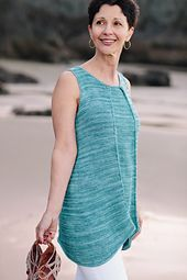 Pacific Coast tunic, from Knits That Breathe: 12 Breezy Projects To Keep You Cool, by Julie Turjoman  Unique construction, inverted pleats, stylish details and fabulously comfortable Tencel Tape yarn add up to a flattering tunic you can knit in time for summer and wear with confidence.  Visit www.julieturjoman.com or http://www.ravelry.com/patterns/library/pacific-coast-tunic for more information.