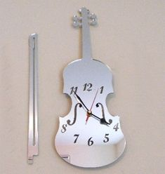 Violin and Bow Clock Mirror 2 Sizes by SuperCoolCreations on Etsy