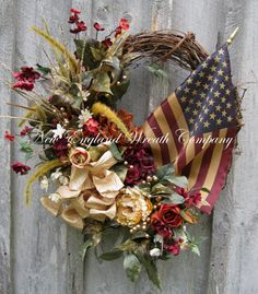 Patriotic Wreath, Americana, Fourth of July, Memorial Day, Williamsburg, New England Wreath, Summer Floral Wreath, Tea Stained Flag