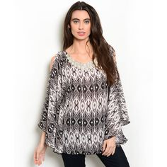 Shop the Trends Women's 3/4 Sleeve Allover Tribal Print Top With Neckline (Small- Ivory)