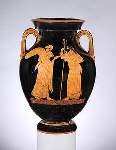 Terracotta amphora (jar)  Attributed to the Syracuse Painter  Period: Classical Date: ca. 470–460 B.C. Culture: Greek, Attic
