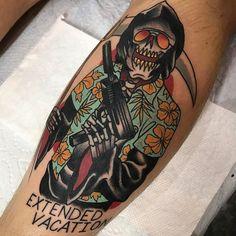 Extended Vacation by @jamison_tattooer at 805 Ink in Santa Barbara California. #extendedvacation #death #grimreaper #reaper #gun #jamisontattooer #805ink #santabarbara #california #tattoo #tattoos #tattoosnob