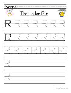 UsingLetter R Handwriting Practice Worksheet, students trace and then write the letter R in order build their Zaner-Bloser style print handwriting skills. Letter E Worksheets, Handwriting Practice Worksheets, Print Handwriting, Teaching Handwriting, Vocabulary Practice, Teaching Letters, Teacher Worksheets, Vocabulary Worksheets, Kindergarten Worksheets