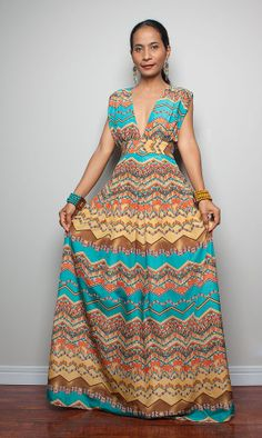 Summer Dress  / Maxi Dress wit Sexy Low Vneck  Oriental by Nuichan, $55.00