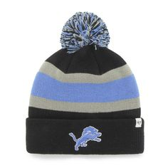 Made and Designed by 47 Brand. Size is a One Size Fits All Embroidered on the front is a Detroit Lions logo. Top Quality Breakaway Style Knit Striped Cuffed Bea