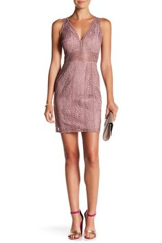 Image of Minuet V-Neck Leaf Lace Cutout Fitted Dress