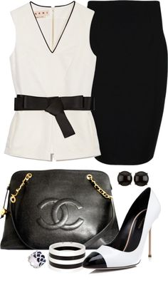 """""""Black and White Office Look"""" by angela-windsor on Polyvore >> add a cardigan for a splash of color if wanted"""