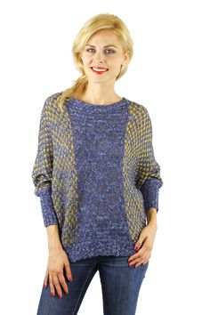 Enewwholesale sells Blue and white over sized batwing knitted sweater. Wholesale fashion women's tops online store with discount price