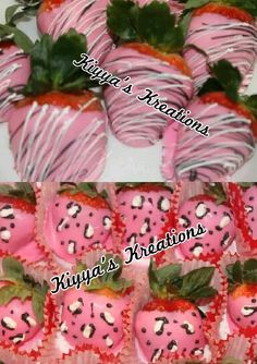 Pink leopard print Chocolate covered strawberries