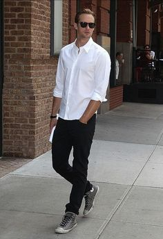 Alexander Skarsgard, on a simple casual outfit sporting a traditional converse.
