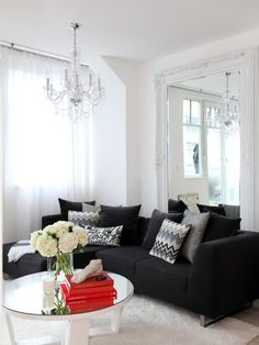 Living Room Enchanting Contemporary Black And White Ideas With Modern Sofa