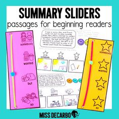 Do you already use my original   Retelling Sliders? Here's the next edition in this series that you've been waiting for! This hands-on, highly-visual summary tool  is perfect for your little readers! This summary packet comes with a FUN  Summary Slider  template that coordinates perfectly with my Retelling Sliders. Reading Lesson Plans, Reading Lessons, Star Template, Templates, Summary Writing, Small Group Reading, Second Grade Teacher, Strong Hand, Visual Learning