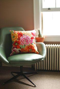 retro chair and print cushion