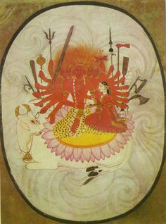 Sada Shiva-Five headed Shiva with goddess Parvati Garhwal, Pahari, early century, Paper Shiva, Krishna, Indiana, Art Indien, Tantra Art, Indian Paintings, Abstract Paintings, Art Paintings, Tibetan Art