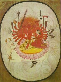 Sada Shiva-Five headed Shiva with goddess Parvati Garhwal, Pahari, early century, Paper Indiana, Shiva, Krishna, Art Indien, Tantra Art, Indian Paintings, Abstract Paintings, Oil Paintings, Durga Images