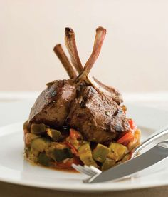 Grilled lamb cutlets with ratatouille by Gabriel Gaté from Recipes for a Great Life | Cooked