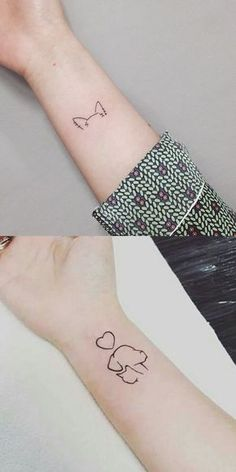 Cute Small Minimal Cat Dog Outline Wrist Tattoo Ideas for Women - Cute Little . - Cute Small Minimal Cat Dog Outline Wrist Tattoo Ideas for Women – Cute Little Minimal Cat Dog Out - Small Dog Tattoos, Cat And Dog Tattoo, Small Tattoos For Guys, Mini Tattoos, Trendy Tattoos, Unique Tattoos, New Tattoos, Cool Tattoos, Artistic Tattoos