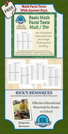http://www.teacherspayteachers.com/Product/Multiplication-and-Division-Facts-Drill-Tests-with-Answer-Keys-659512 Multiplication and Division facts tests to build fluency.  Includes answer keys.