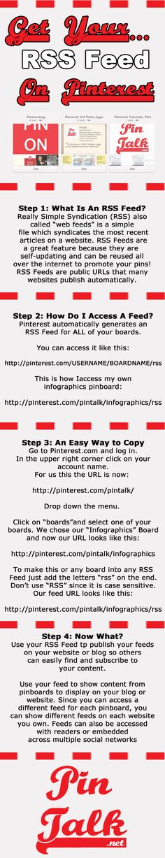 Pinterst Tutorial Inforgraphic How to Access you RSS Feed  on #Pinterest #SocialMedia via @pintalk