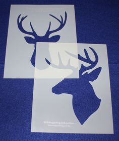 Buck-Deer Head Stencils -Mylar 2 Pieces of 14 Mil X - Painting /Crafts/ Templates - layout wedding Quilting Frames, Quilting Stencils, Quilting Templates, Quilting Rulers, Quilting Designs, Quilting Classes, Quilting Blogs, Deer Head Stencil, Buck Deer