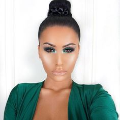 Green is my favorite color  Used @bellamihair extensions to create this braided bun /code: amrezy foroff/ will be listing details shortly  Earrings @queenpee ✨