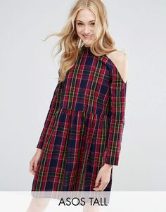 Buy it now. ASOS TALL Cold Shoulder Cotton Check Smock Dress - Black. Tall dress by ASOS TALL, Checked cotton fabric, Halter neck, Cold shoulder cut, Loose fit � falls loosely over the body, Machine wash, 100% Cotton, Our model wears a UK 8/EU 36/US 4 and is 178cm/5'10 tall, Mini dress length between: 93-95cm. ABOUT ASOS TALL Find fresh wardrobe wins with our ASOS TALL edit. Raise your sunrise-till-sunset game with occasion dresses, cool separates and jeans that go up to a 38� leg length ...
