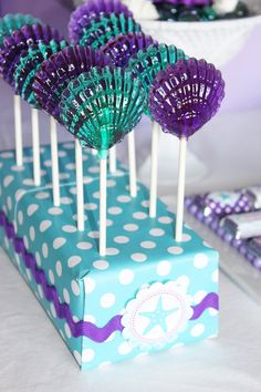 12 CLAM SHELL Lollipops Mermaid Party Ariel Party by CandiedCakes