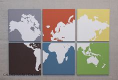I'd make the backgrounds the same and use newsprint for the continents. Love the concept.