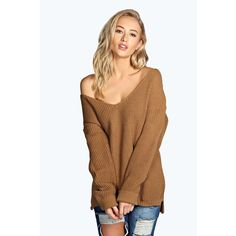 Boohoo Sasha Oversized V Neck Jumper ($26) ❤ liked on Polyvore featuring tops, sweaters, camel, acrylic sweater, v neck crop top, oversized jumper, flat top and over sized sweaters