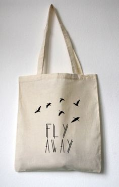 "Jutebeutel ""Fly Away"" // tote bag by WalkTheDawg via DaWanda.com"