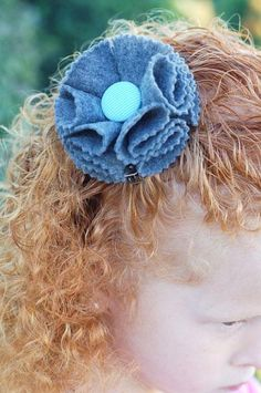 DIY Clip Hair for Girls : DIY felt flower hair accessory