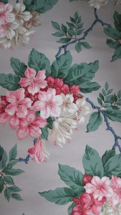 Vintage Victorian wallpaper with pink and red by styxriverart
