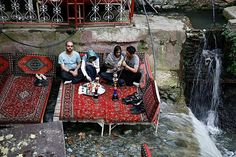 #Darband area, #Tehran The Darband area in northern Tehran is a popular place for Tehrani's to visit in the weekend. Darband has a huge offer of restaurants, carpet on a bed, an old Iranian tradition and a Great place for lunch and dinner! #Realiran #Iran www.realiran.org