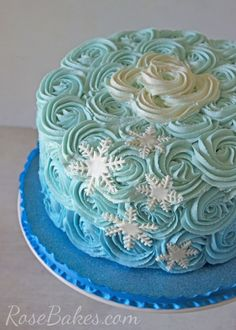 Frozen Ombre Roses Cake with Snowflakes Rose Bakes Frozen Birthday Party, Birthday Cake Girls, 3rd Birthday, Birthday Cakes, Birthday Ideas, Birthday Parties, Rosas Buttercream, Easy Frozen Cake, Bolo Elsa