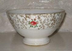 Bol ancien avec frise de roses et fleurs dorées Digoin Sarreguemines - Cliquer pour agrandir
