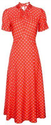 NEW CLASSY RED POLKA DOT VINTAGE WW2 1940′S 1950′S PINUP FLARED RETRO TEA DRESS    www.fashionczar.co.uk