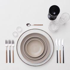Glass Pewter Chargers + Heath Ceramics in French Grey + Mixed Teak/Ebony Flatware + Vintage Black/Czech Crystal Glassware + Antique Crystal Salt Cellars // Casa de Perrin