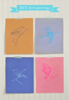 Today on Art Bar monday over at Small for Big I am sharing these DIY bird paintings, free printables and all! This was originally a kid craft, but things di