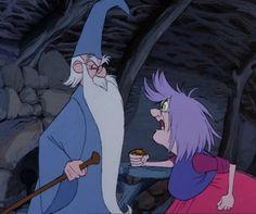 Merlin & Madam Mim (The Sword in the Stone) Disney Pixar, Walt Disney, Disney Villains, Disney Cartoons, Disney Animation, Disney Love, Disney Magic, Disney Art, Disney Collage