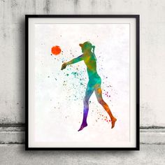 Woman beach volley ball player 02 in watercolor - Fine Art Print Glicee Poster Home Watercolor sports Gift Room Illustration Wall - SKU 2313 by Paulrommer on Etsy