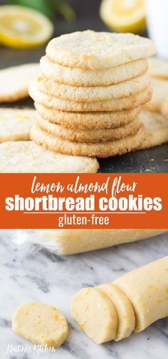 These easy Lemon Almond Flour Shortbread Cookies are crisp and buttery. This slice and bake cookie recipe is gluten-free and perfect for spring! One of the best simple cookie recipes, made with just a few ingredients and low carb. Keto Cookies, Cookies Sans Gluten, Lemon Shortbread Cookies, Dessert Sans Gluten, Gluten Free Shortbread Cookies, Almond Flour Shortbread Recipe, Gluten Free Biscotti Recipe, Easy Gluten Free Cookies, Lemon Cookies Easy