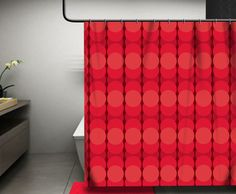 Stylish circular geometric art on a shower curtain featuring awesome shades of red