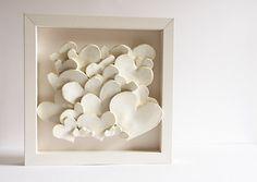 CRÈME coeurs carreaux de céramique encadrée cadeau de par karoArt