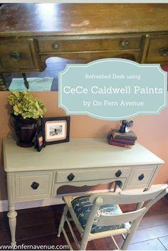 Refreshed Desk using CeCe Caldwell Paint by Lynn Fern