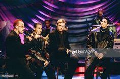 Musical guests Backstreet Boys AJ McLean Howie Dorough Nick Carter Kevin Richardson Brian Littrell perform on August 10 1998