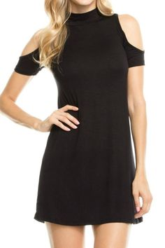 "This trendy cold shoulder dress features a mock neck and a comfortable fit.    Measures approximately 31"" long.   Black Cold Shoulder Dress by Humanity. Clothing - Dresses Columbus, Ohio"