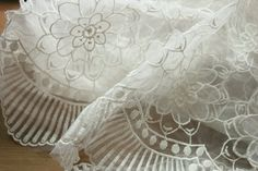 Beige Lace Fabric 3D Floral Lace Fabric Wedding Gown by lacetime, $23.99