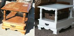 Five dollar table to fifty dollar table: before and after end table makeover in white